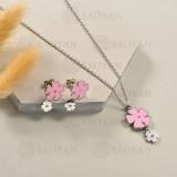Conjunto de Collar de Flor en Acero Inoxidable -SSNEG143-13052