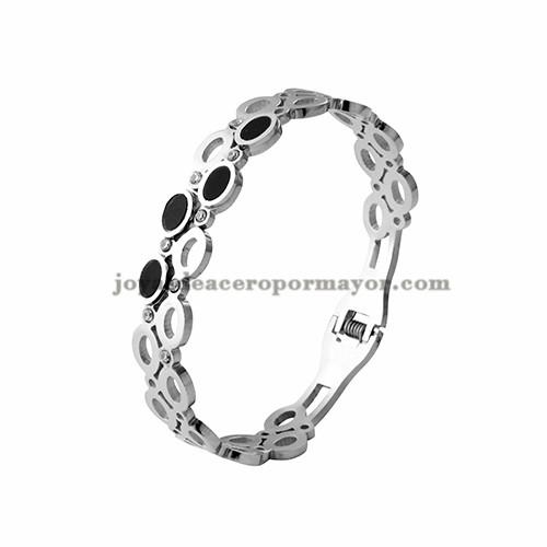 pulsera con perla de plateado en acero inoxidable para mujer-SSBTG403754