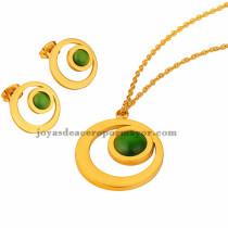 collar fina y aretes de piedra verde en  acero dorado  inoxidable - SSNEG401638