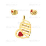 juego dije y aretes de corazon de dorado en acero-SSSTG384449