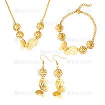 juego collar pendientes y brazalete de mariposa moda en acero dorado inoxidable -SSNEG1153599