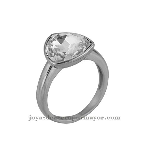 anillos plateado con cristal al por mayor