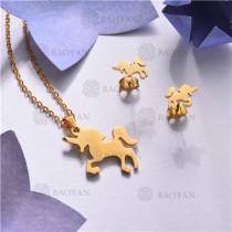 Conjunto de Acero inoxidable en Color Oro Dorado-SSNEG143-11034