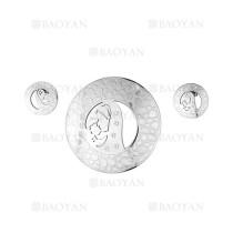 juego colgante y aretes de santa maria dentro circulos en acero plateado  inoxidable - SSSTG184144