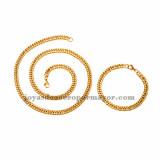 juego collar y brazalete dorado en acero inoxidable para hombre -SSNEG462667