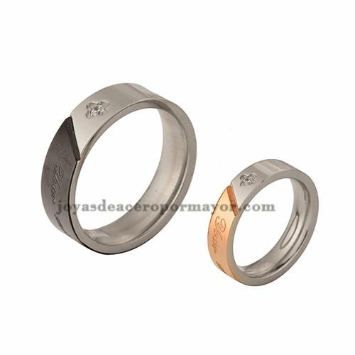 anillos con letra con cristal en acero inoxidable para pareja de-SSRGG971025