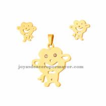 juego de dije y aretes de mono de dorado en acero inoxidable para mujer-SSSTG073259