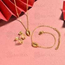 conjunto de collar y aretes en acero inoxidable -SSBNG126-15065