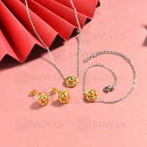 conjunto de collar y aretes en acero inoxidable -SSBNG126-15054