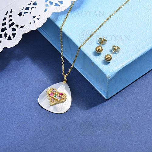 conjunto de collar de bronce y concha -SSCSG107-15865