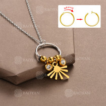 Collar DIY de Aros Movil con Charms en Acero Inoxidable -SSNEG142-12513
