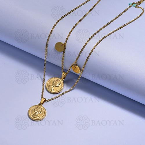 collares multi capa de Acero Inoxidable medalla para Mujer -SSNEG171-14728