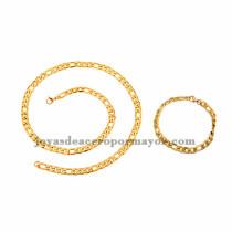 juego collar y brazalete dorado simple  en acero inoxidable para hombre -SSNEG462679