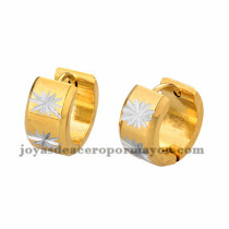 argollas 13mm de estrellas blanca en acero dorado inoxidable -SSEGG384238