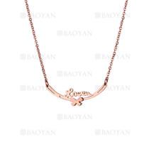 collar con letra love  en acero de oro rosado para mujer-SSNEG1123081