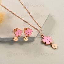 Conjunto de Collar de Flor en Acero Inoxidable -SSNEG143-13051