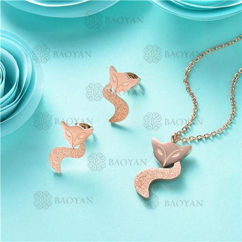 Juego collar con aretes de zorro moda en acero inoxidable-SSNEG80-9895
