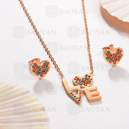 Conjunto de Collar Multi Color en Acero Inoxidable -SSNEG143-13056
