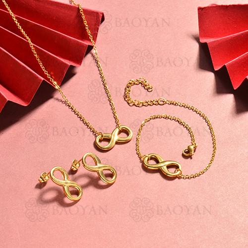 conjunto de collar y aretes en acero inoxidable -SSBNG126-15061