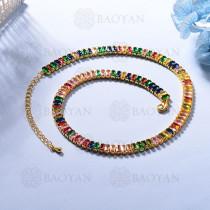 Collar de Multi Color Zircon en Bronce -BRNEG154-934