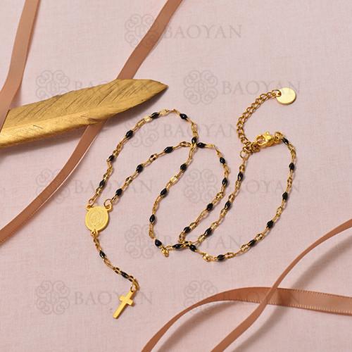 Collar de Rosario Oro Dorado en Acero -SSNEG95-16096