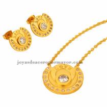 collar fina y aretes de brillante cristal en acero dorado  inoxidable -SSNEG401636