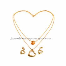 venta collar de corazon para damas en acero dorado
