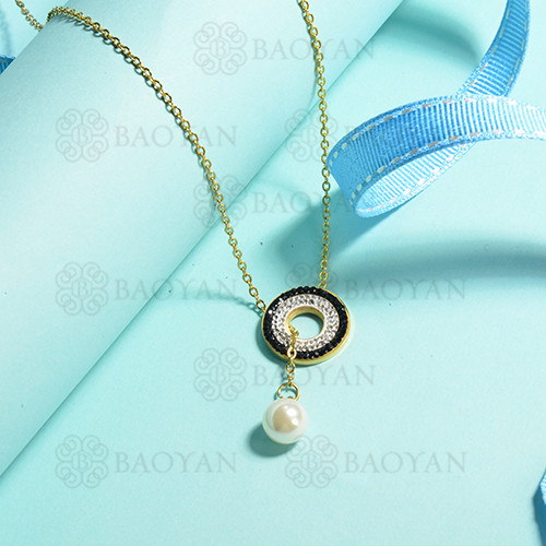 collares de acero inoxidable para mujer -SSNEG143-14836-G