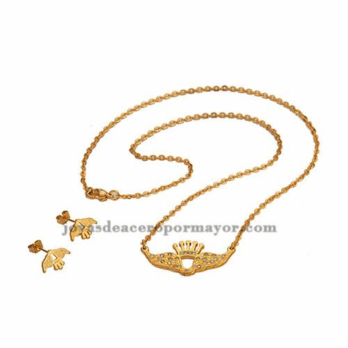 collar fino con aretes de cristal alas en oro dorado para mujer-SSNEG071305