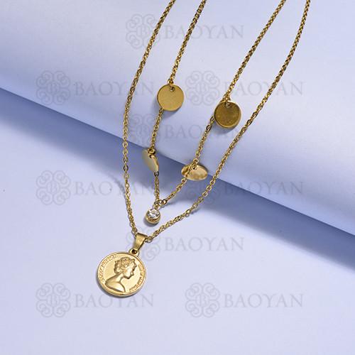 collares multi capa de Acero Inoxidable medalla para Mujer -SSNEG171-14729