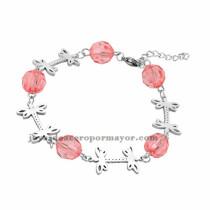 brazalete de bola cristal rosado con libelula en acero plateado inoxidable -SSBTG953647