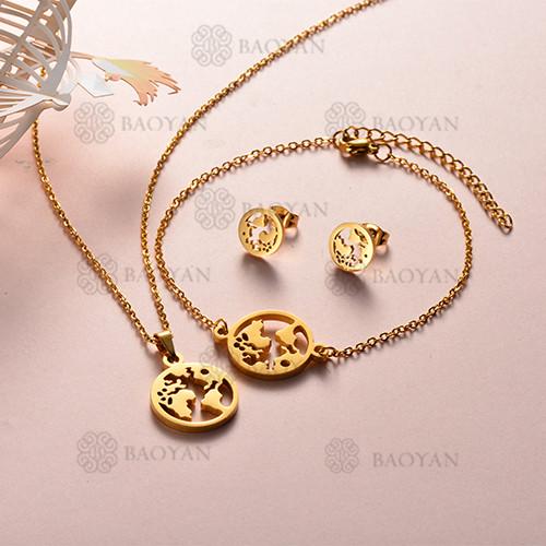 Joyas de Acero Inoxidable de Color Oro Dorado -SSNEG143-12219