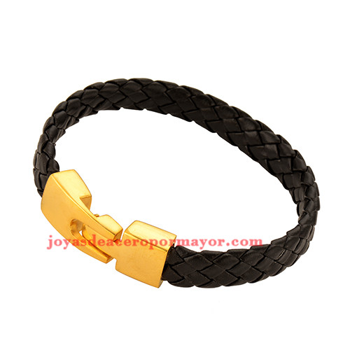 pulsera de artesanales negro en acero inoxidable de dorado-SSBTG163744