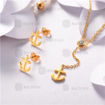 Conjunto de Acero Inoxidable Oro Dorado -SSNEG126-10472