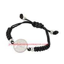 pulsera de artesanales negro en acero inoxidable de plateado-SSBTG163737