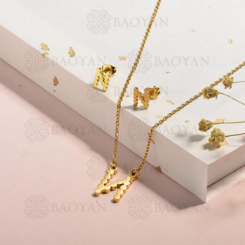 conjunto de collar y aretes en acero inoxidable -SSCSG143-15341
