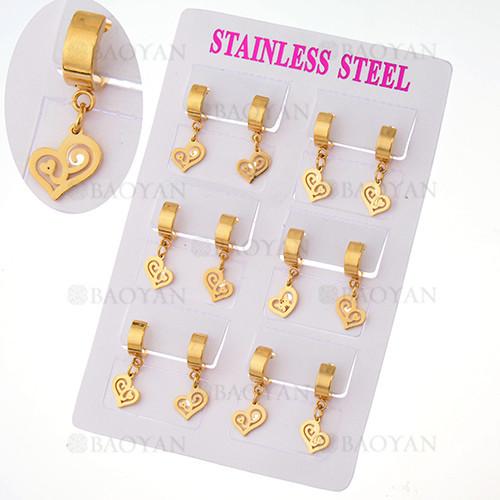 aretes con dije corazon en acero de dorado para mujer-SSEGG385010