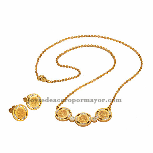 collar fino con aretes de cristal ronda en oro dorado para mujer-SSNEG071304