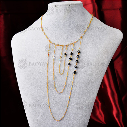 Collar con Multi Capa en Acero Inoxidable -SSNEG142-9307