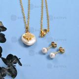 Collar de Perlas Baroque Agua Dulce en Bronce para Mujer -BRNEG142-789