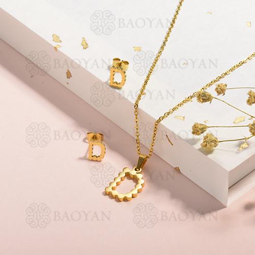 conjunto de collar y aretes en acero inoxidable -SSCSG143-15335