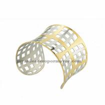pulsera de forma malla en acero plateado y dorado  inoxidable para dama -SSBTG213372