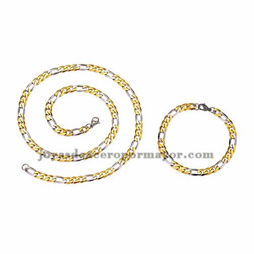 juego collar y brazalete estilo simple dorado mezcla plateado en acero inoxidable para hombre -SSNEG462671