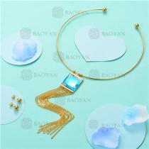Conjunto de Collar y Aretes en Acero Inoxidable -SSNEG18-6169
