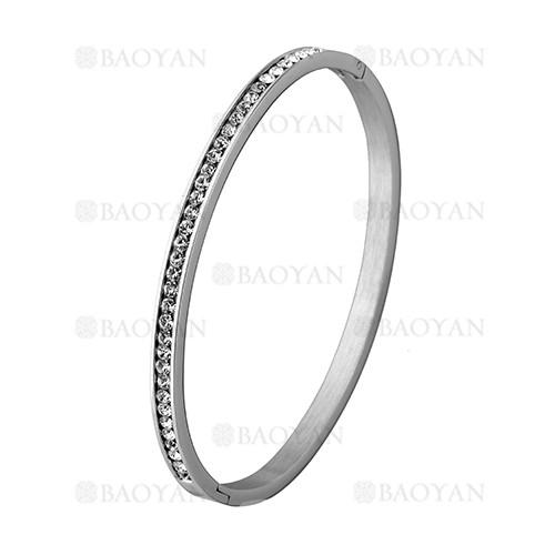 pulsera de brillante cristal en acero plateado inoxidable -SSBTG1225543