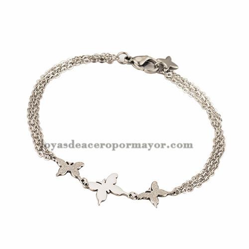 pulsera de mariposa en plateado en acero quirurgico para mujer -SSBTG662659