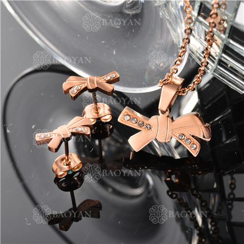 Conjunto de Acero inoxidable en Color Oro Rosado-SSNEG143-11084