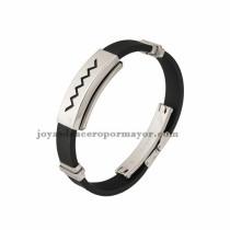 negro brazalete de silicona en acero inoxidable para hombre-SSBTG942864