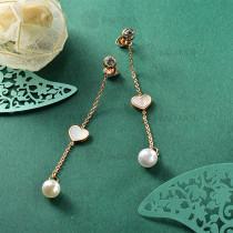Aretes de Perla Imitacion en Acero Inoxidable -SSEGG143-9108