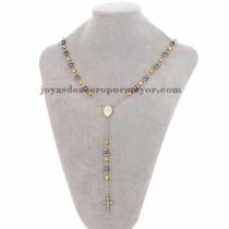 collar de bola dorado con dije santa cruz en acero plateado inoxidable - SSNEG951902